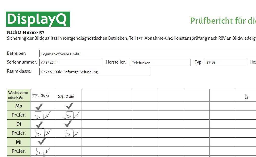 DisplayQ Expert Smart Report - Tägliche Konstanzprüfung