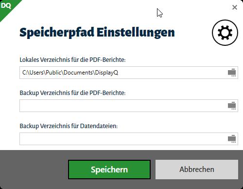 Dialog zu Einstellung der Pfade zum Speichern der Daten- und PDF-Backups